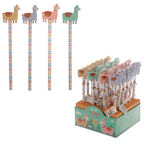 Cute Llama Design Pencil and Eraser Set Novelty Gift [Pack of 2]