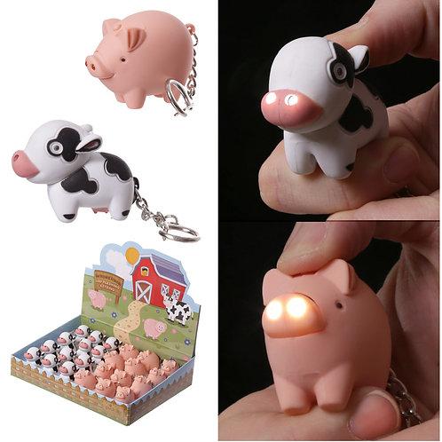 Cute LED Farmyard Key Ring Novelty Gift