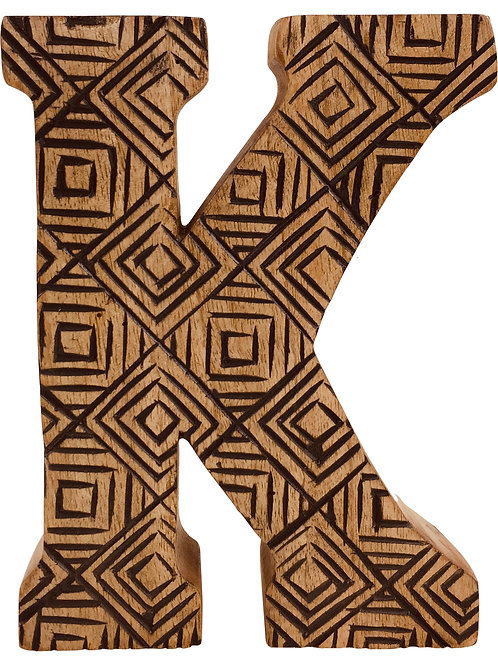 Hand Carved Wooden Geometric Letter K Shipping furniture UK