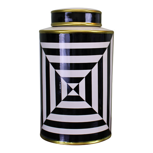 Black/White/Gold Ceramic Lidded Vase, Geometric 29cm Shipping furniture UK