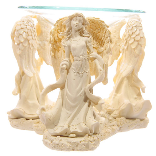 Decorative Cream Angel Design Oil Burner with Glass Dish Novelty Gift