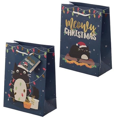 Feline Fine Christmas Cat Design Medium Gift Bag Novelty Gift