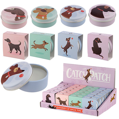 Funky Lip Balm in a Tin - Catch Patch Dog Design Novelty Gift