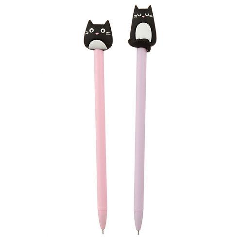Feline Fine Cat Topper Pen [Pack of 2] Novelty Gift