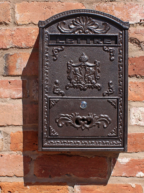 Cast Iron and Wooden Wall Mounted Post Box  Shipping furniture UK