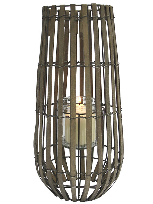 Natural Wooden Strip Lantern With Glass Holder Shipping furniture UK