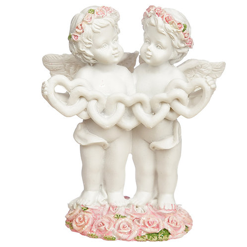 Collectable Cherub Pair with Heart Chain Novelty Gift