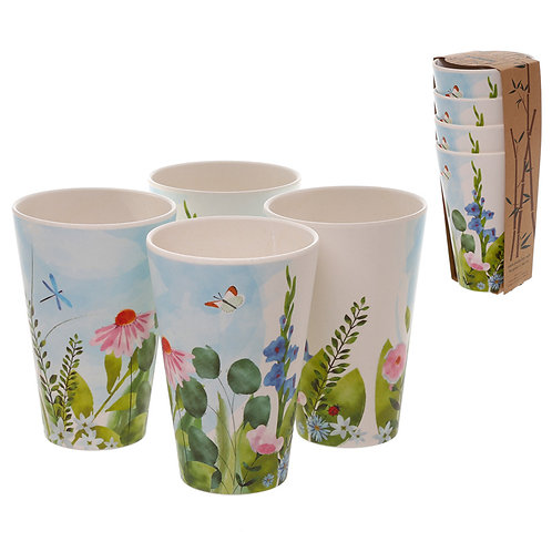 Bamboo Composite Botanical Gardens Set of 4 Cups Novelty Gift