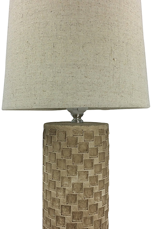 Beige Tile Lamp And Shade 38cm Shipping furniture UK