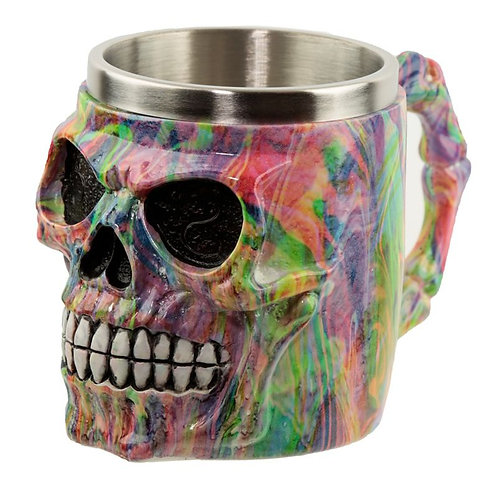 Collectable Decorative Rainbow Marble Effect Skull Tankard Novelty Gift