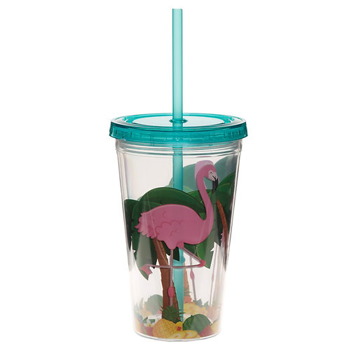 Funky Flamingo Double Walled Cup with Lid and Straw Novelty Gift