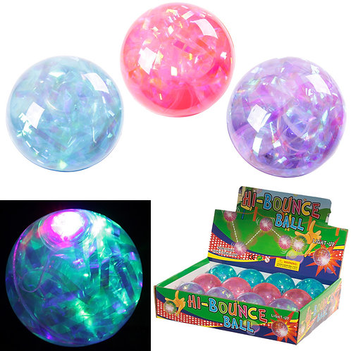 Fun Kids Flashing Rubber Bouncy Ball - Multi Glitter Novelty Gift