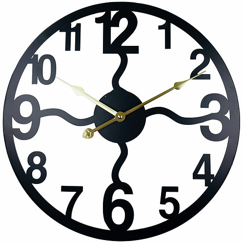 Black Metal Cut Out Wall Clock 40cm Shipping furniture UK