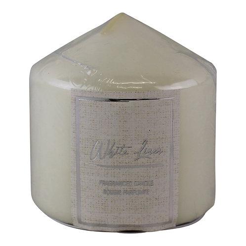 White Linen Fragranced Pillar Candle  Shipping furniture UK