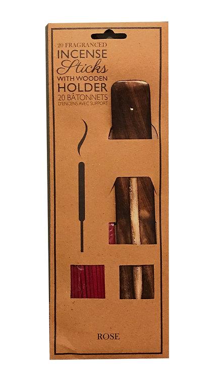 20 Fragranced Incense Sticks With Holder - Rose Shipping furniture UK
