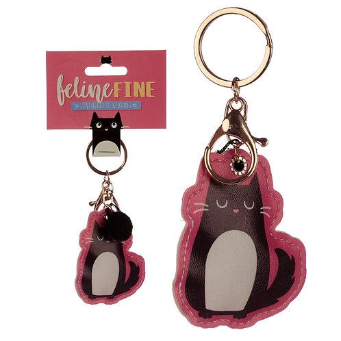 Fun Leatherette Feline Fine Cat Keyring Novelty Gift