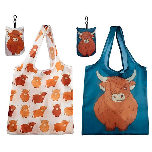 Handy Fold Up Cow Shopping Bag with Holder [ONE ONLY] Novelty Gift