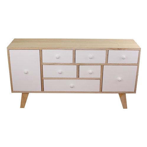 9 Drawer White & Wooden Storage Unit  Shipping furniture UK