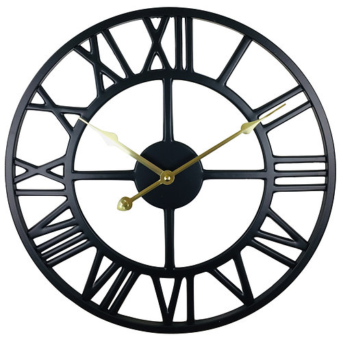 Black Metal Roman Numeral Wall Clock 39cm Shipping furniture UK
