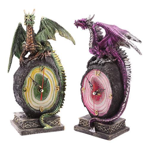 New Collectors Crystal Geode Dark Legends Dragon Clock Figurine UK [1]