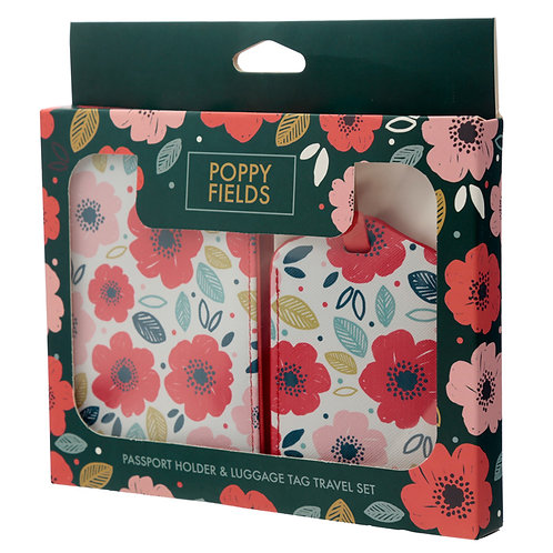 Fun Novelty Poppy Fields Luggage Tag and Passport Cover Set Novelty Gift
