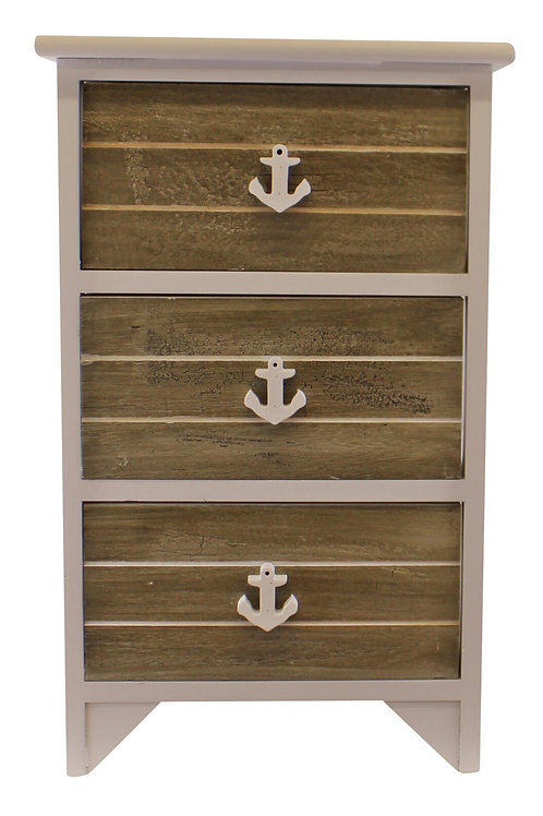 Chest Of 3 Drawers With Nautical Handles In Grey & White Shipping furniture UK
