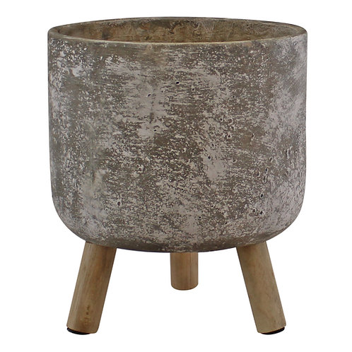 Large Grey Cement Planter With Wooden Legs, 20cm diameter Shipping furniture UK