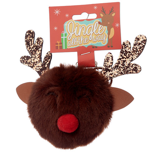 Fun Collectable Pom Pom Keyring - Christmas Reindeer Novelty Gift