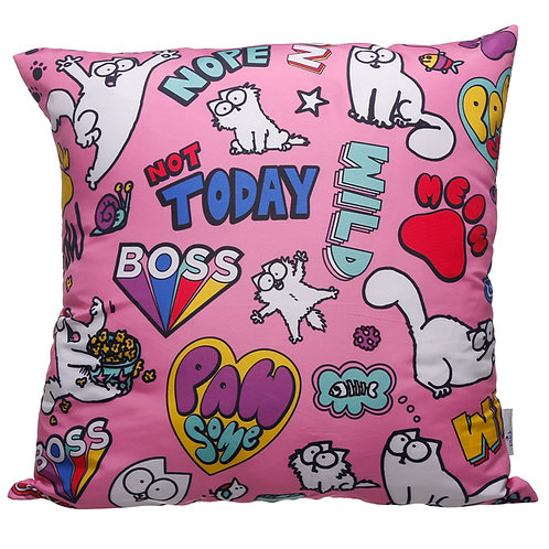 Pink Simon's Cat Pawsome Cushion with Insert 50 x 50cm Novelty Gift