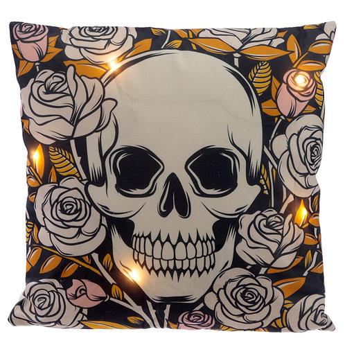 Decorative LED Cushion - Skulls and Roses Novelty Gift