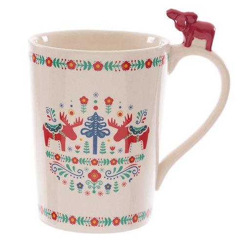 Ceramic Scandi Mug with Moose on Handle Novelty Gift