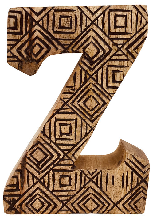 Hand Carved Wooden Geometric Letter Z Shipping furniture UK