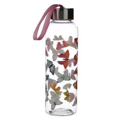 Butterfly House 500ml Reusable Water Bottle with Metallic Lid Novelty Gift