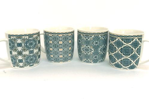 Set/4 Mugs With Traditional Blue Patterns Shipping furniture UK