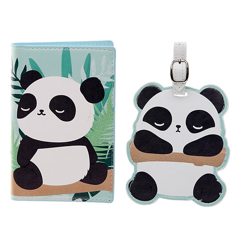 Fun Novelty Pandarama Luggage Tag and Passport Cover Set Novelty Gift