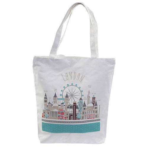 Handy Cotton Zip Up Shopping Bag - London Icons Novelty Gift