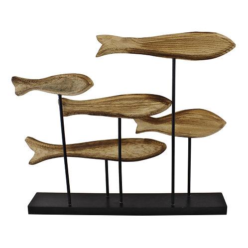 Large Wooden Swimming Fish Sculpture Shipping furniture UK
