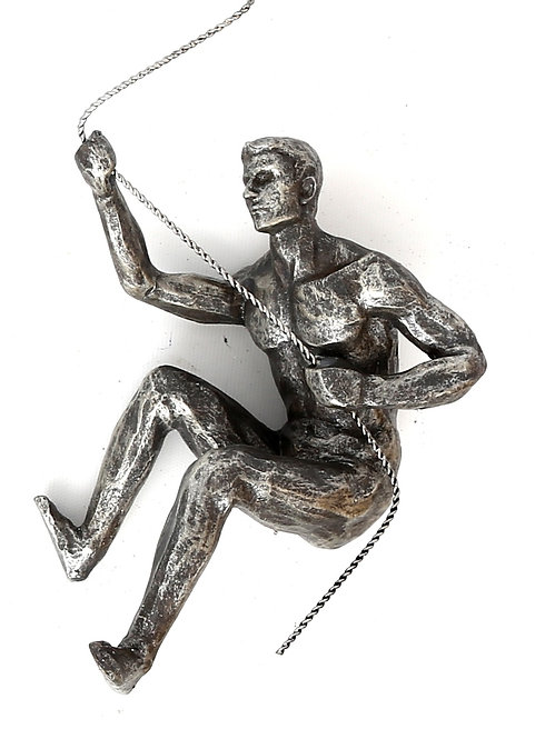 Silver Abseiling Man Looking Up 73cm Shipping furniture UK