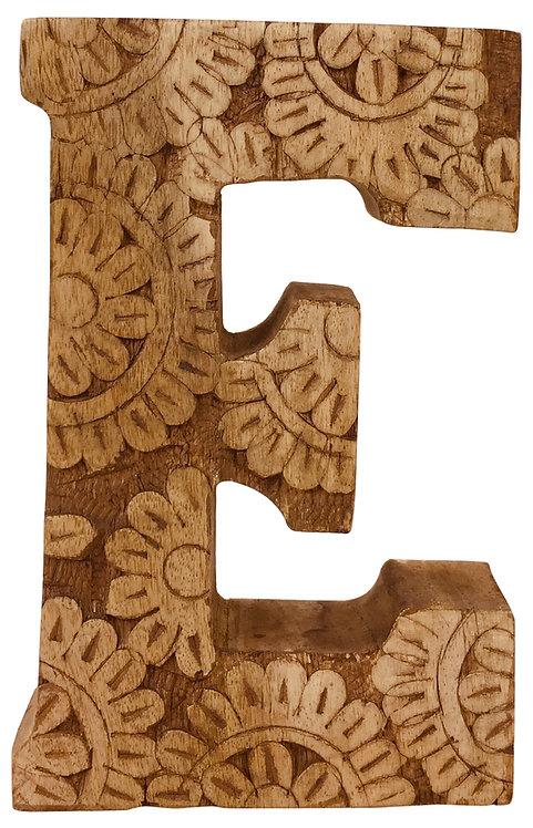 Hand Carved Wooden Flower Letter E Shipping furniture UK