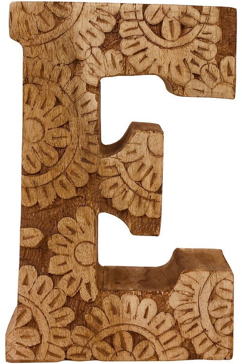 Hand Carved Wooden Flower Letter E Shipping furniture UK