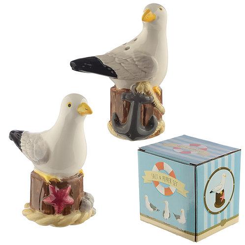 Fun Seagull Design Salt and Pepper Set Novelty Gift