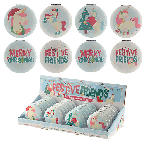 Novelty Gift Fun Collectable Festive Unicorns Christmas Compact Mirror