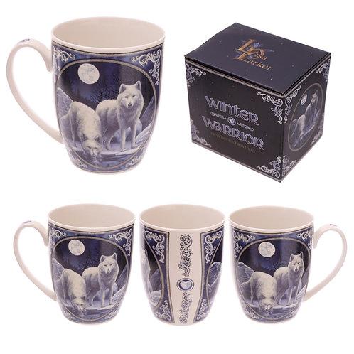 Fantasy Winter Warrior Wolf Design Porcelain Mug Novelty Gift