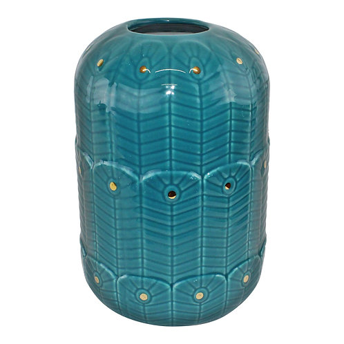Ceramic Peacock Vase In Teal Shipping furniture UK