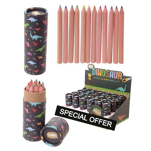 Fun Kids Colouring Pencil Tube - Dinosaur Design Novelty Gift [Pack of 2]