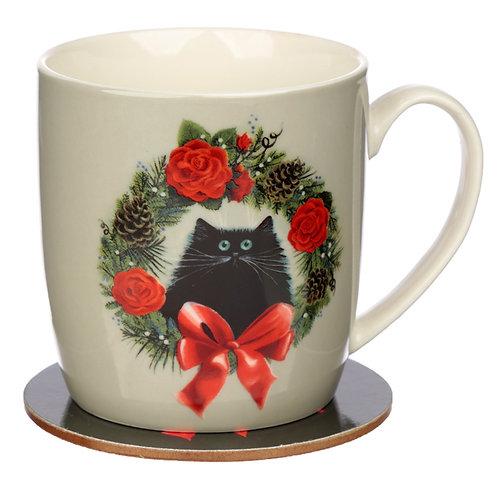 Christmas Porcelain Mug & Coaster Set - Kim Haskins Wreath Cat Novelty Gift