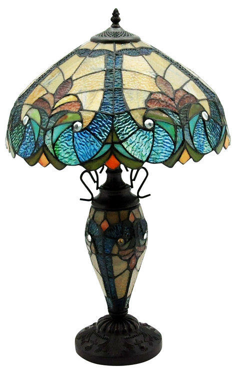 "Dark Blue & Yellow Double Tiffany Lamp 16"" Shipping furniture UK"