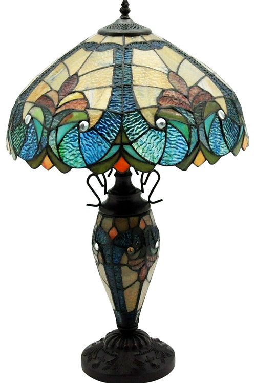 "Dark Blue & Yellow Double Tiffany Lamp 16"" Shipping furniture UK"