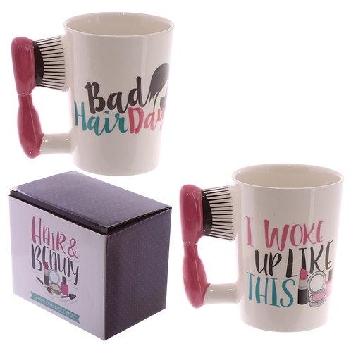 Fun Hair Brush Shaped Handle Ceramic Mug Novelty Gift