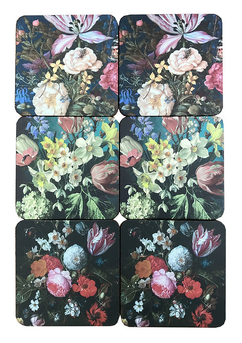Pack Of Six Dutch Floral Coasters In Gift Box Shipping furniture UK